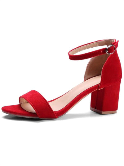 Womens Casual Block Heel Ankle Strap Sandals - Red / 4.5 - Womens Sandals