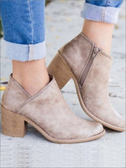 Womens Casual Block Mid Heels Retro Ankle Boots - Beige / 35 - Womens Boots