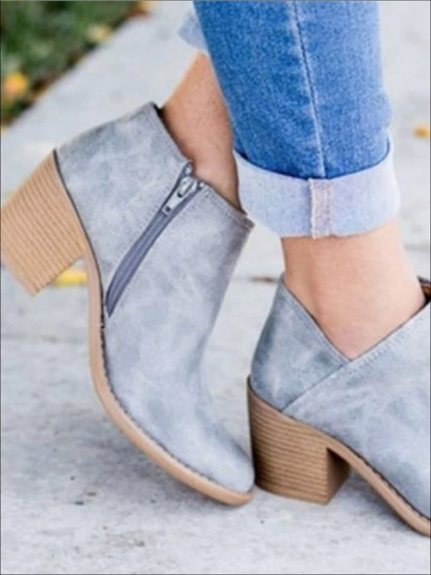 Womens Casual Block Mid Heels Retro Ankle Boots - Blue / 35 - Womens Boots