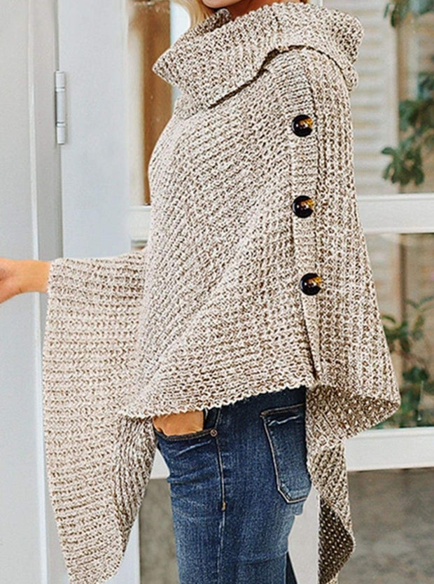 Womens Casual Knit Button Embellished Cloak Sweater - Womens Fall Sweaters