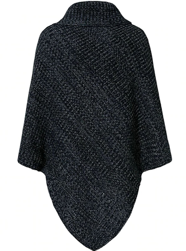 Womens Casual Knit Button Embellished Cloak Sweater - Blue / One Size - Womens Fall Sweaters