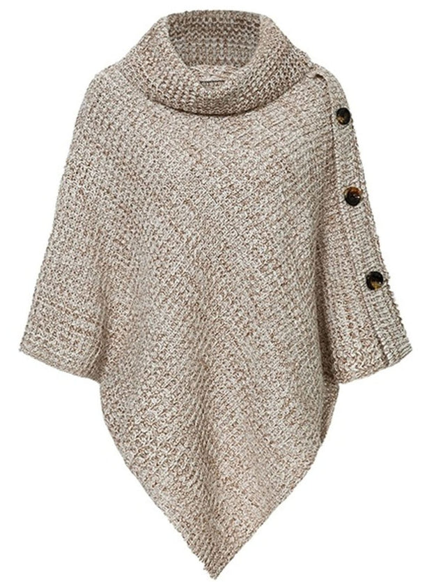 Womens Casual Knit Button Embellished Cloak Sweater - Brown / One Size - Womens Fall Sweaters