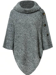 Womens Casual Knit Button Embellished Cloak Sweater - Dark Grey / One Size - Womens Fall Sweaters