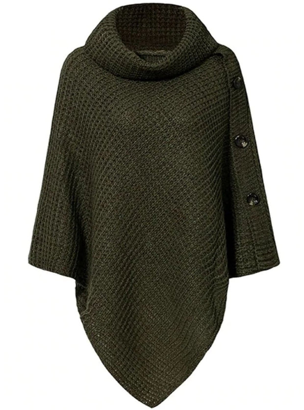 Womens Casual Knit Button Embellished Cloak Sweater - Green / One Size - Womens Fall Sweaters