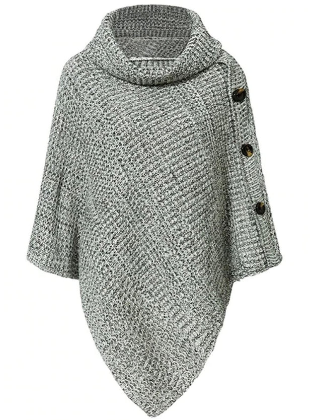 Womens Casual Knit Button Embellished Cloak Sweater - Light Grey / One Size - Womens Fall Sweaters