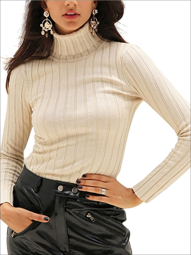Womens Casual Knit Turtleneck Long Sleeve Sweater - Womens Fall Sweaters