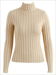 Womens Casual Knit Turtleneck Long Sleeve Sweater - Brown / S/M - Womens Fall Sweaters