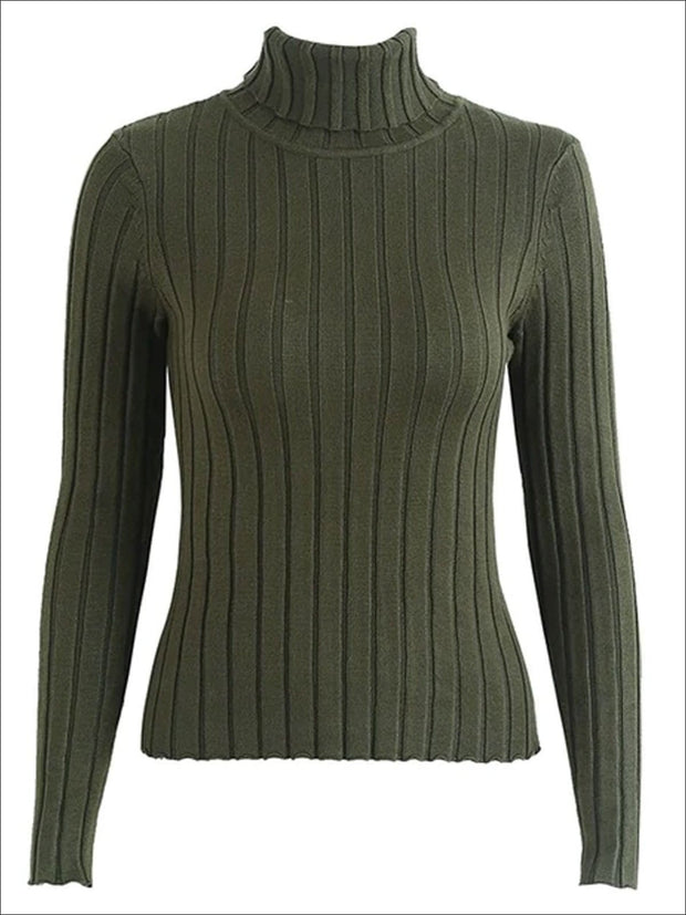 Womens Casual Knit Turtleneck Long Sleeve Sweater - Green / S/M - Womens Fall Sweaters