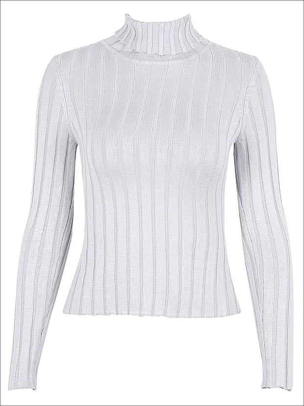Womens Casual Knit Turtleneck Long Sleeve Sweater - Grey / S/M - Womens Fall Sweaters