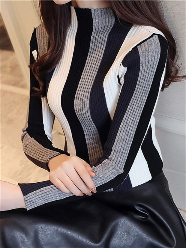 Womens Casual Knit Vertical Striped Sweater - Black / S - Womens Fall Sweaters
