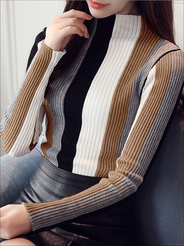 Womens Casual Knit Vertical Striped Sweater - Brown / S - Womens Fall Sweaters