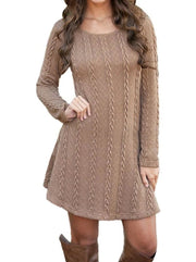 Womens Casual Long Sleeve Sweater Dress - Brown / S - Womens Fall Dresses