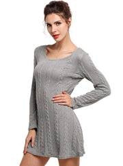 Womens Casual Long Sleeve Sweater Dress - Gray / S - Womens Fall Dresses