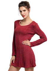 Womens Casual Long Sleeve Sweater Dress - Red / S - Womens Fall Dresses