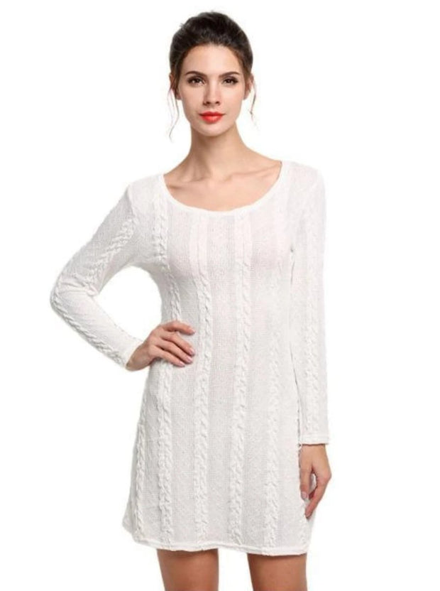 Womens Casual Long Sleeve Sweater Dress - White / S - Womens Fall Dresses
