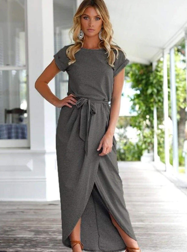 Womens Casual Long Tunic Dress - Dark Grey / XS - Womens Dresses