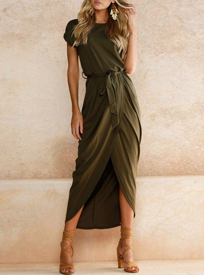 Womens Casual Long Tunic Dress - Green / XS - Womens Dresses