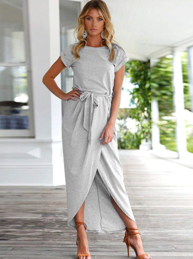 Womens Casual Long Tunic Dress - Grey / XS - Womens Dresses