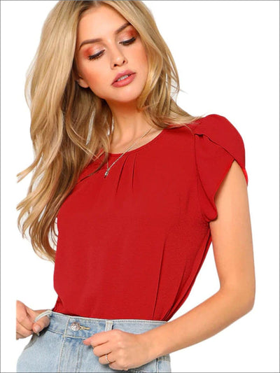 Womens Casual Pleated Petal Sleeve Blouse - Red / XS - Womens Tops