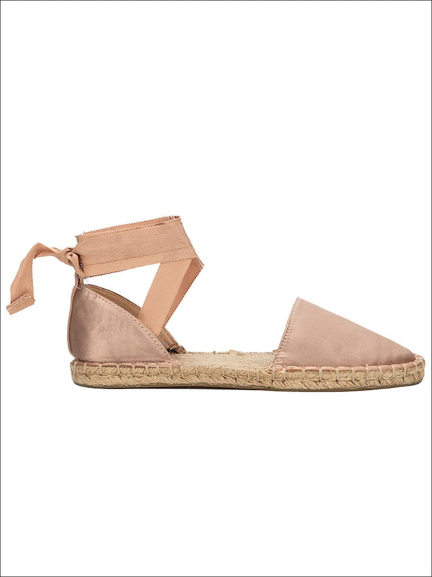 Womens Casual Silk Rome Cross-Strap Espadrilles - Pink / 5.5 - Womens Shoes