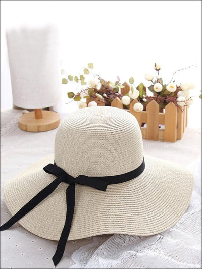 Womens Casual Straw Hat With Black Ribbon - White - Womens Accessories