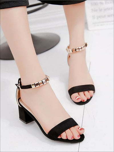 Womens Casual String Bead Block Heel Sandals - Black / 4.5 - Womens Sandals