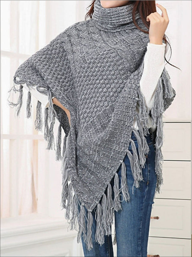 Womens Casual Turtleneck Fringed Poncho - Womens Fall Sweaters