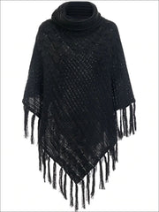 Womens Casual Turtleneck Fringed Poncho - Black / One Size - Womens Fall Sweaters