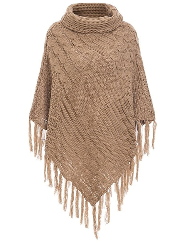 Womens Casual Turtleneck Fringed Poncho - Brown / One Size - Womens Fall Sweaters