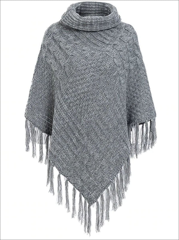 Womens Casual Turtleneck Fringed Poncho - Dark Grey / One Size - Womens Fall Sweaters