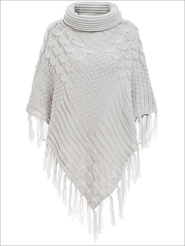 Womens Casual Turtleneck Fringed Poncho - Light Grey / One Size - Womens Fall Sweaters