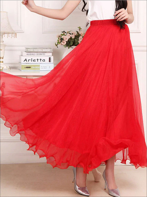Womens Chiffon Ruffle Hem Mesh Maxi Skirt - Womens Bottoms