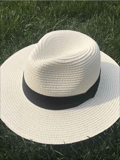 Womens Classic Floppy Panama Hat - White - Womens Accessories