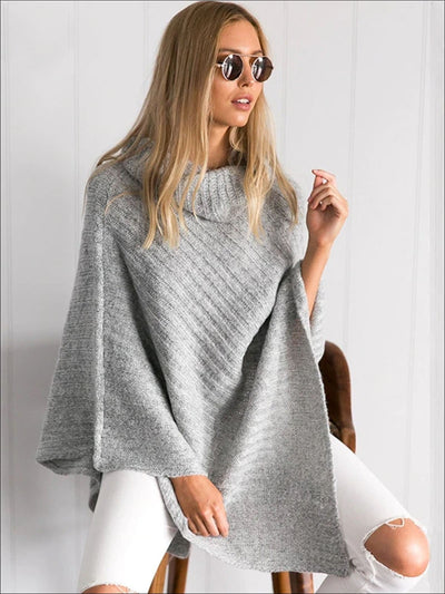 Womens Classic Knit Asymmetrical Poncho Sweater - Womens Fall Sweaters