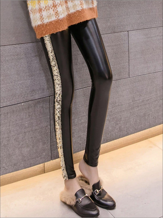 Womens Classic Side Sequined Synthetic Leather Leggings - Womens Bottoms