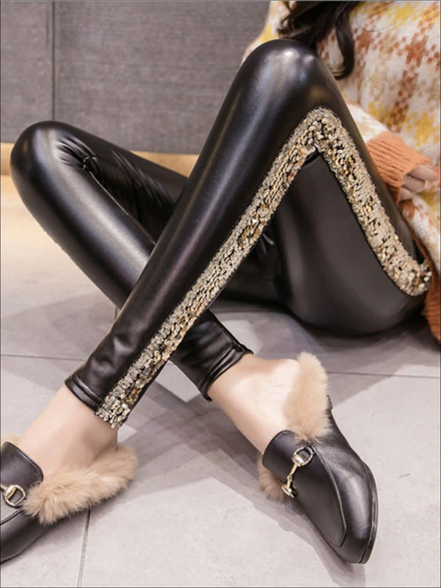Womens Classic Side Sequined Synthetic Leather Leggings - Gold / S - Womens Bottoms