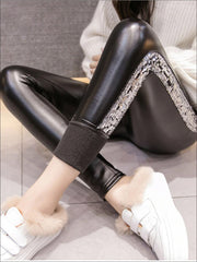 Womens Classic Side Sequined Synthetic Leather Leggings - Silver / S - Womens Bottoms