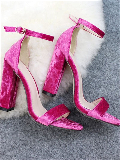 Womens Classic Velvet Block Heel Sandals - Pink / 5 - Womens Sandals