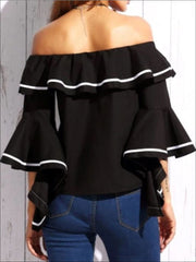 Womens Color-Block Trim Off Shoulder Ruffle Blouse - Womens Tops