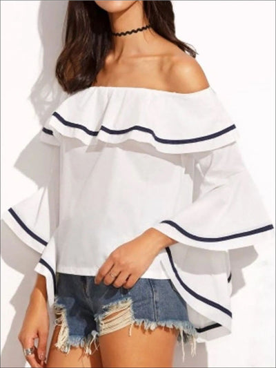 Womens Color-Block Trim Off Shoulder Ruffle Blouse - White / S - Womens Tops