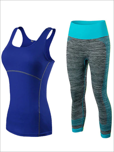 Womens Contrast Stitch Racerback Marled Capri Leggings Set - Blue / S - Womens Activewear