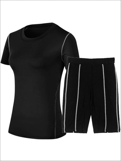 Womens Contrast Stitch Workout Top & Cycling Shorts Set - Black / S - Womens Activewear