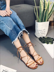 Womens Criss Cross Tie Flat Sandals - Womens Sandals