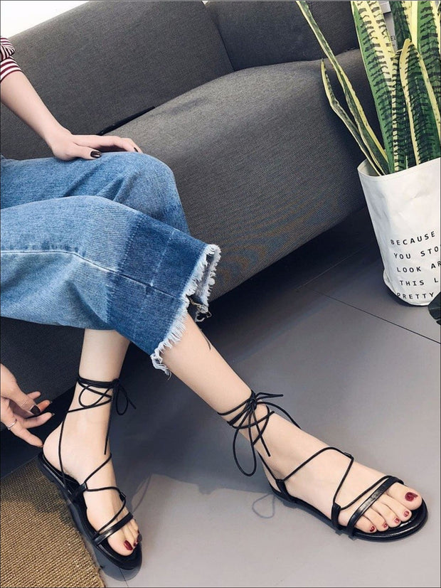 Womens Criss Cross Tie Flat Sandals - Black / 5 - Womens Sandals