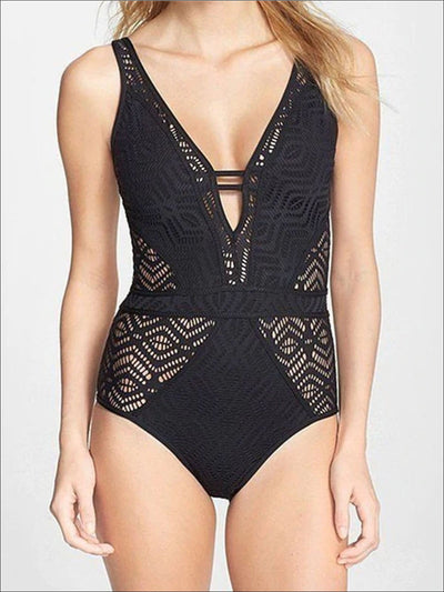 Womens Crochet Hollow Out Backless One Piece Swimsuit - Black / S - Womens Swimsuit