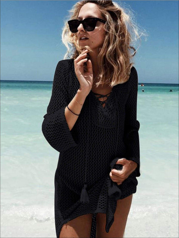 Womens Crochet Tassel Beach Cover Up - Black / One Size - Womens Swimsuit