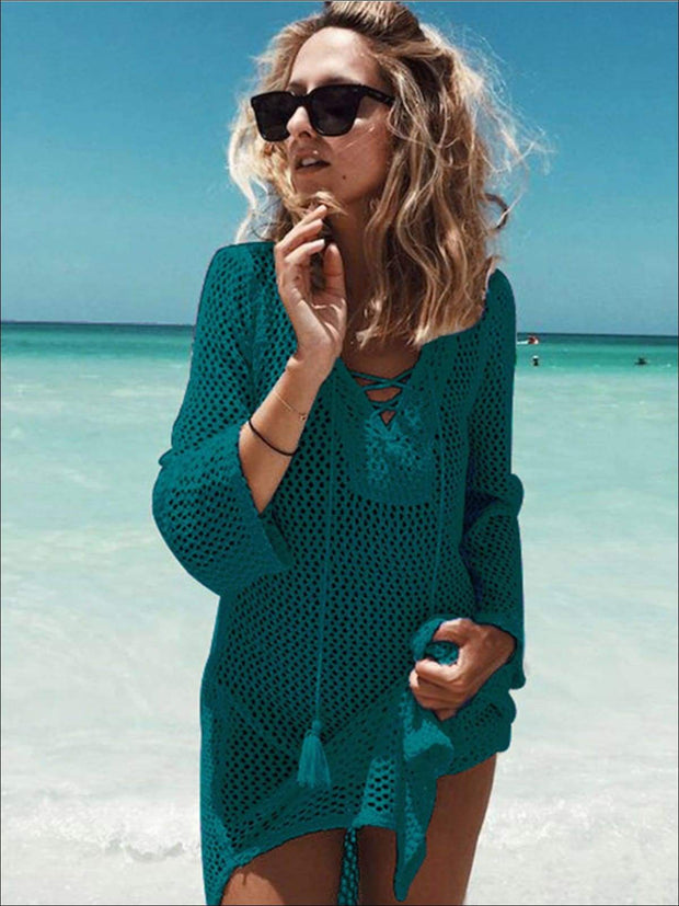 Womens Crochet Tassel Beach Cover Up - Green / One Size - Womens Swimsuit