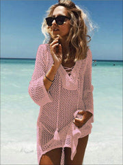 Womens Crochet Tassel Beach Cover Up - Pink / One Size - Womens Swimsuit