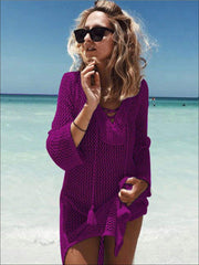 Womens Crochet Tassel Beach Cover Up - Purple / One Size - Womens Swimsuit