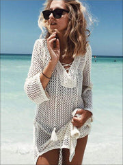 Womens Crochet Tassel Beach Cover Up - White / One Size - Womens Swimsuit